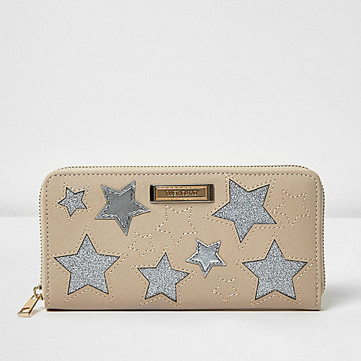 Cream silver star zip around purse