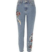 Lori – Bestickte High Rise Jeans in blauer Waschung