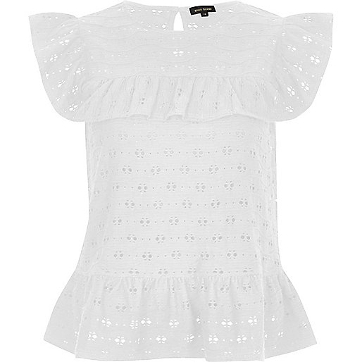 White textured frill top