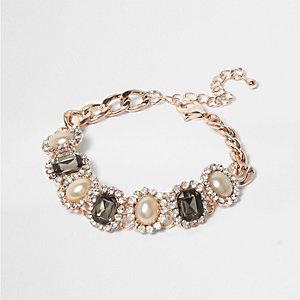 Rose gold tone pearl pave bracelet