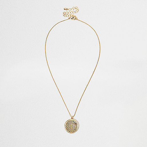 Gold tone filigree necklace