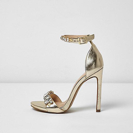 Metallic gold embellished heel sandals