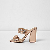 Rose gold tone strap heeled mules