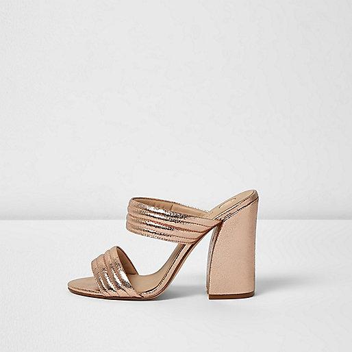 Rose gold tone strap heeled mules