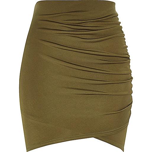Khaki ruched wrap mini skirt