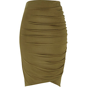 Khaki ruched wrap pencil skirt