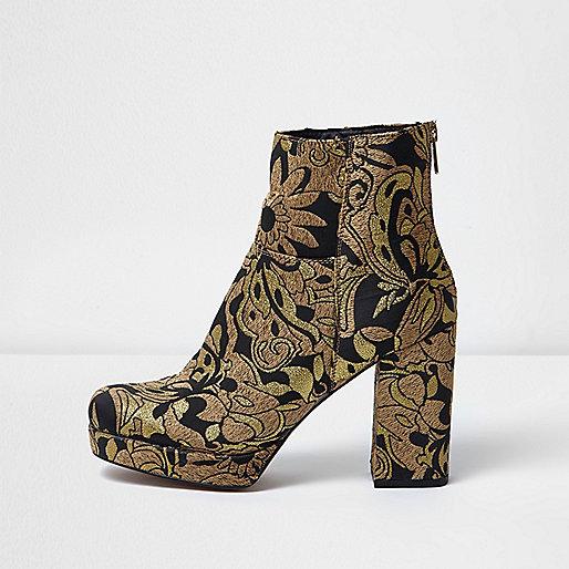 Gold embroidered platform boots