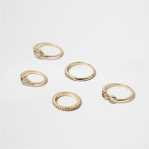 Gold tone gem infinity rings pack