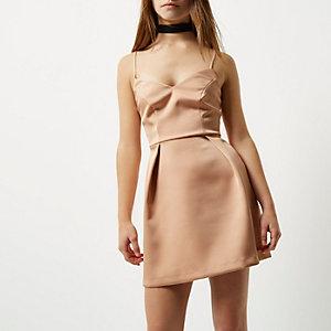 Robe courte Petite style caraco rose poudré