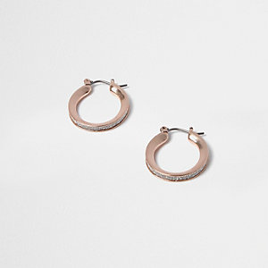 Rose gold tone glitter mini hoop earrings