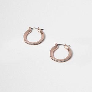 Rose gold tone glitter mini hoop earrings
