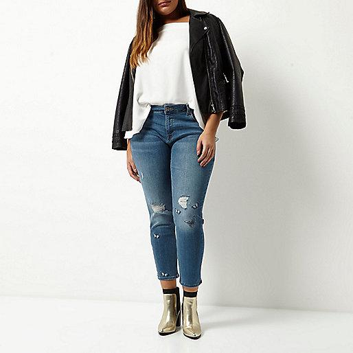Jean skinny Plus Alannah bleu brodé