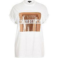 Plus – Weißes Boyfriend-T-Shirt mit Motiv
