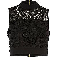 Black lace tied side crop top