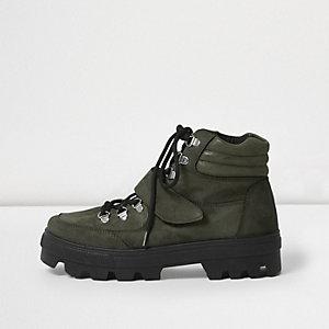 Khaki green suede hiker boots