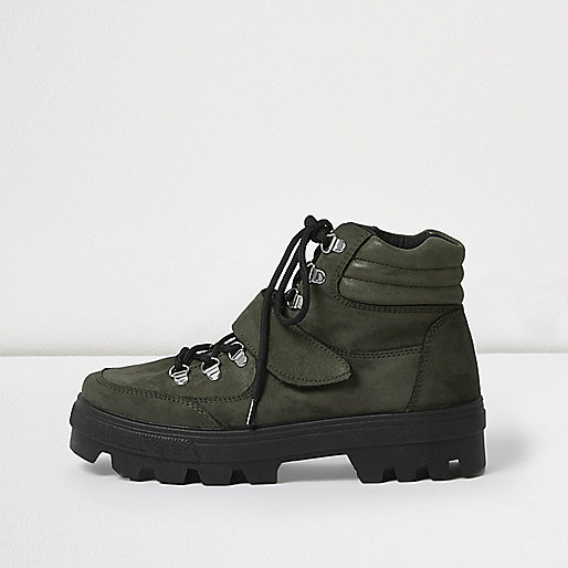 Khaki green suede hiker boots