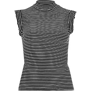 Black stripe frill turtleneck tank top