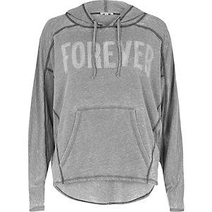 Grey burnout 'Forever' print hoodie