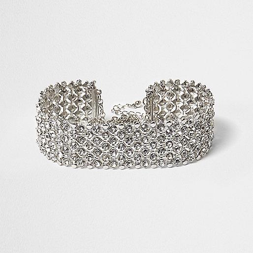 RI Plus silver tone sparkly choker