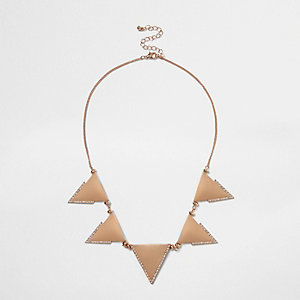 Rose gold tone triangle statement neckalace