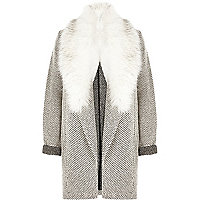 Black and white faux fur trim jersey jacket