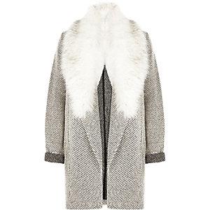 Black and white faux fur trim jersey jacket