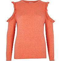 Coral pink frill cold shoulder top