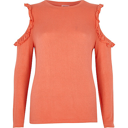 Coral pink frill cold shoulder top