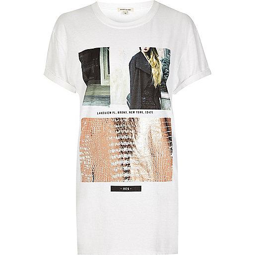 T-shirt boyfriend imprimé métallisé blanc