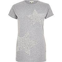 T-shirt imprimé étoile à sequins gris