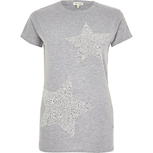 Grey sequin star T-shirt
