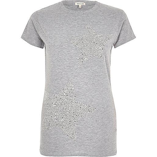 Grey sequin star T-shirt