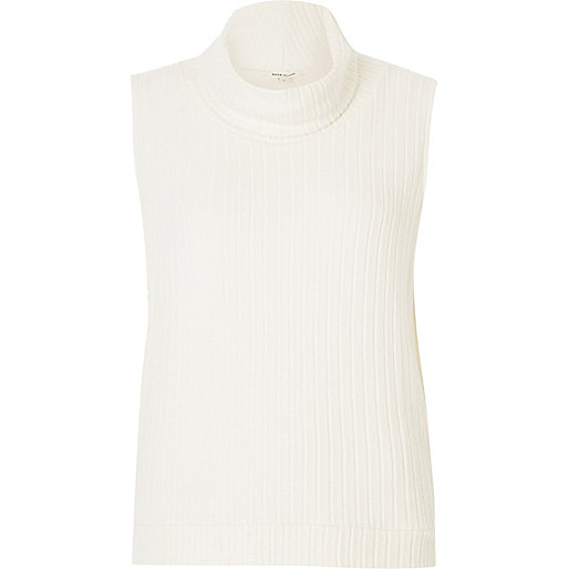Cream ribbed cowl neck tank top