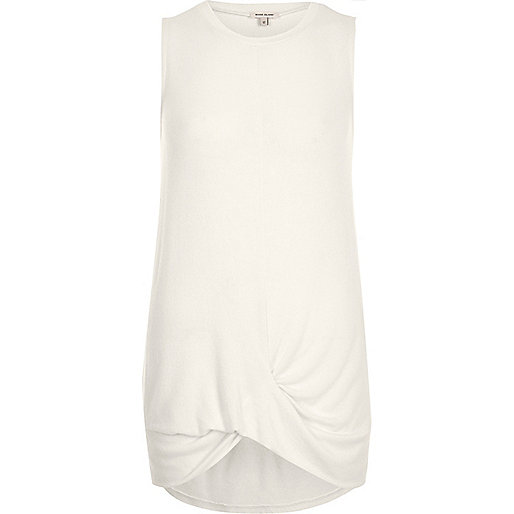 Cream twist hem tank top