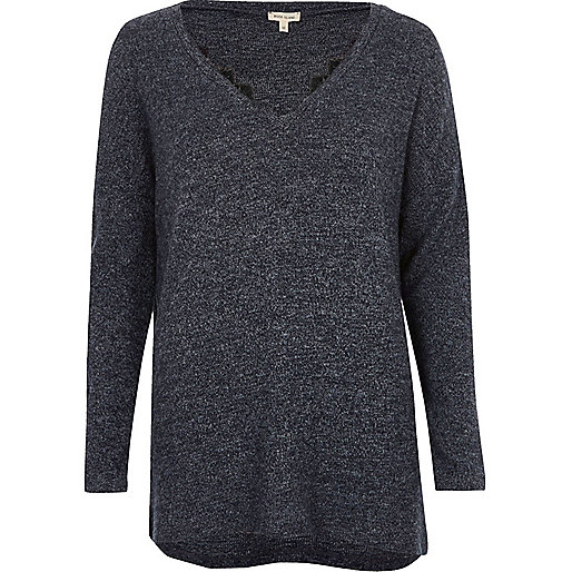 Navy blue knit top with lace detail