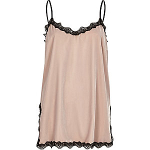 Blush pink velvet lace trim cami top