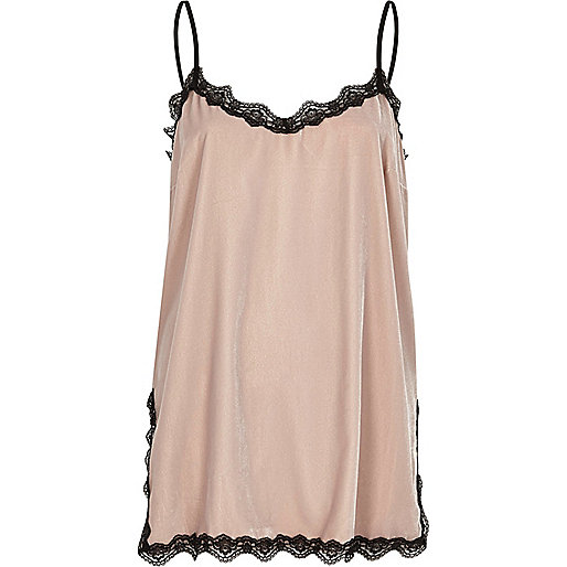 Blush pink velvet lace trim cami top