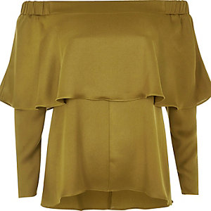 Khaki green deep frill bardot top