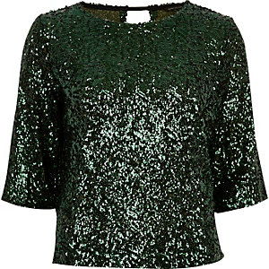 Green sequin grazer top