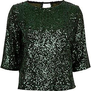 Green sequin grazer top