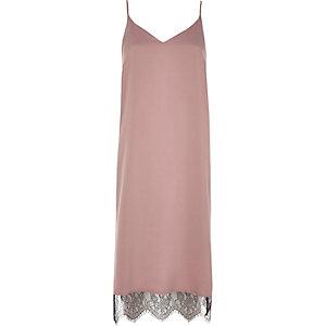 Pink lace hem cami midi dress