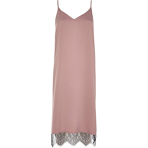 Pink lace hem cami midi dress