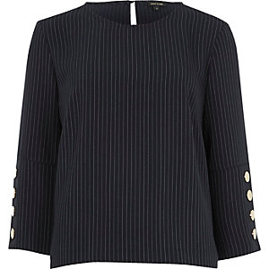 Blue pinstripe button sleeve top