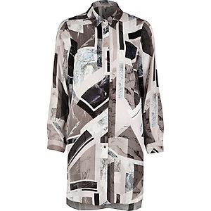Grey print longline shirt