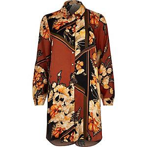 Orange flower print longline shirt