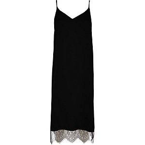 Black lace hem cami midi dress