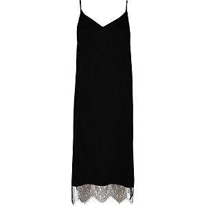Black lace hem cami midi dress