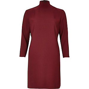 Red Dark red turtleneck swing dress