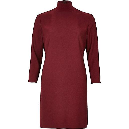 Red Dark red turtleneck swing dress