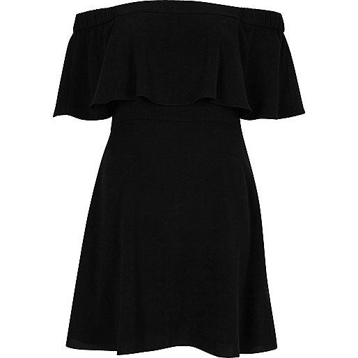 Black deep frill bardot dress